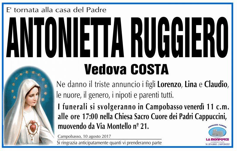 Antonietta Ruggiero, 10/08/2017, Campobasso – Onoranze Funebri La Monforte