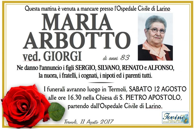 Maria Arbotto – 11/08/2017- Termoli -Jovine