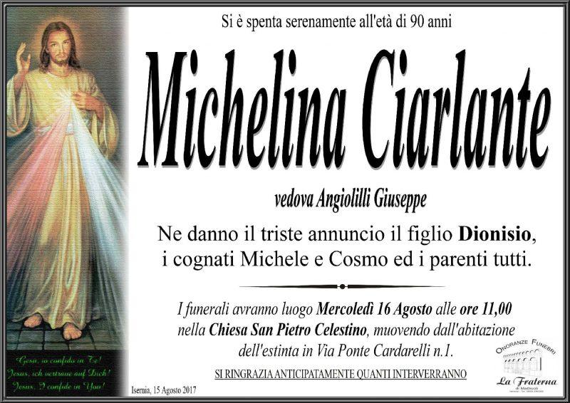 Michelina Ciarlante – 15/08/2017 – Isernia – Onoranze Funebri La Fraterna