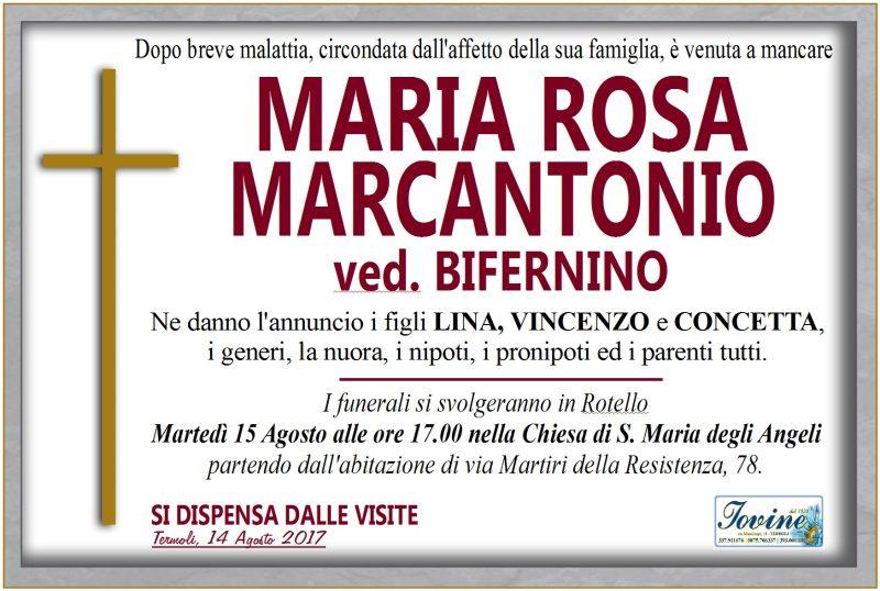Maria Rosa Marcantonio – 14/08/2017 – Termoli – Onoranze Funebri Jovine