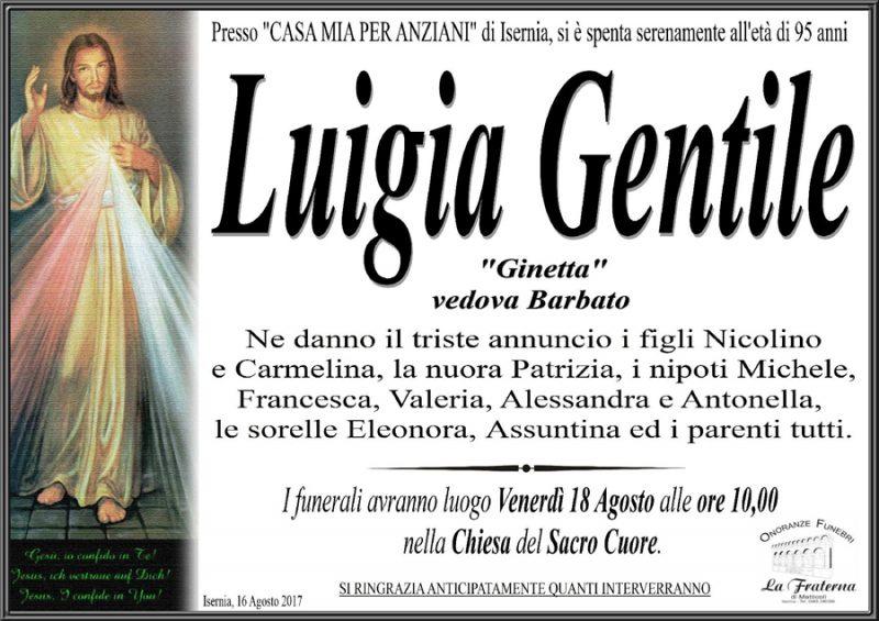 Luigia Gentile – 16/08/2017 – Isernia – Onoranze funebri La Franterna