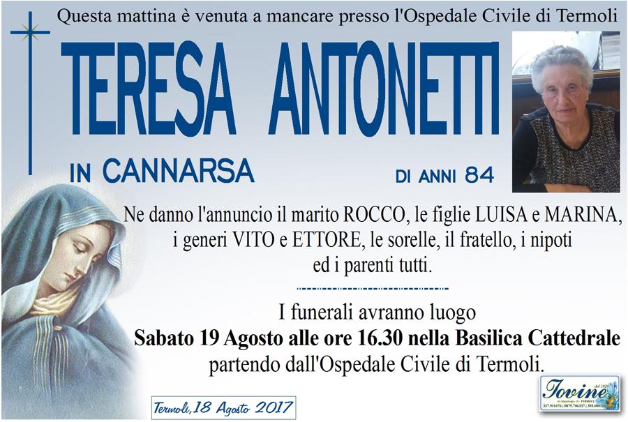 Teresa Antonetti – 18/08/2017 – Termoli – Onoranze funebri Iovine