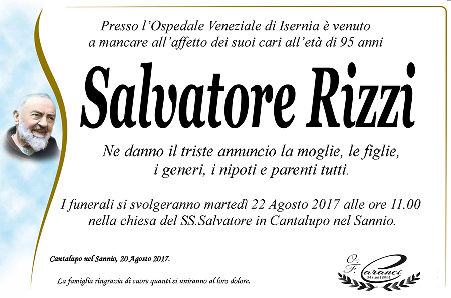 Salvatore Rizzi – 21/08/2017 – Cantalupo nel Sannio (IS) – Onoranze funebri Caranci