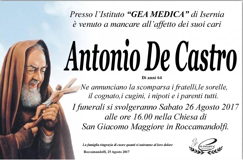 Antonio De Castro, 25/08/2017, Roccamandolfi – Onoranze funebri Caranci