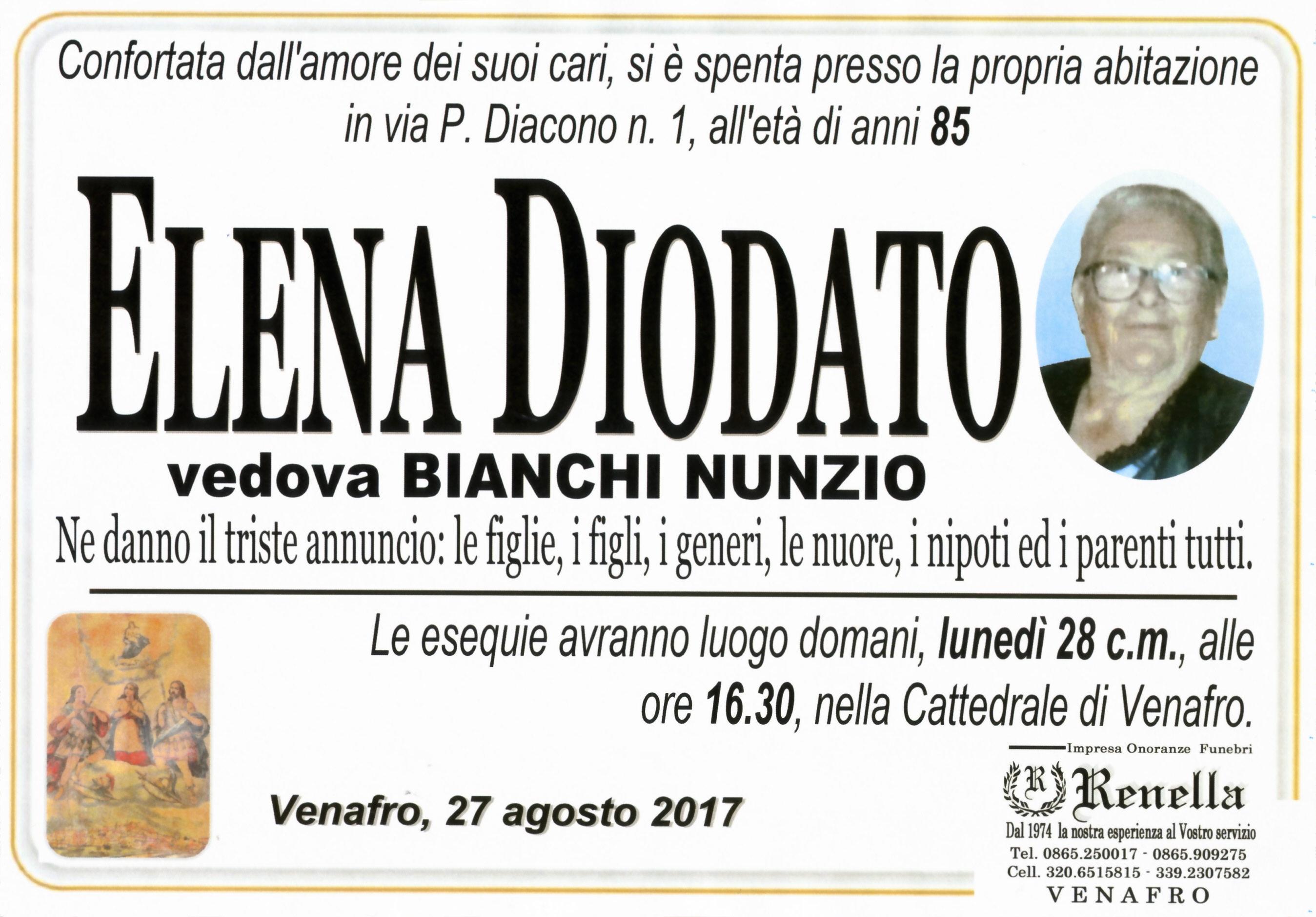 Elena Diodato, 27/08/2017, Venafro – Onoranze Funebri Renella