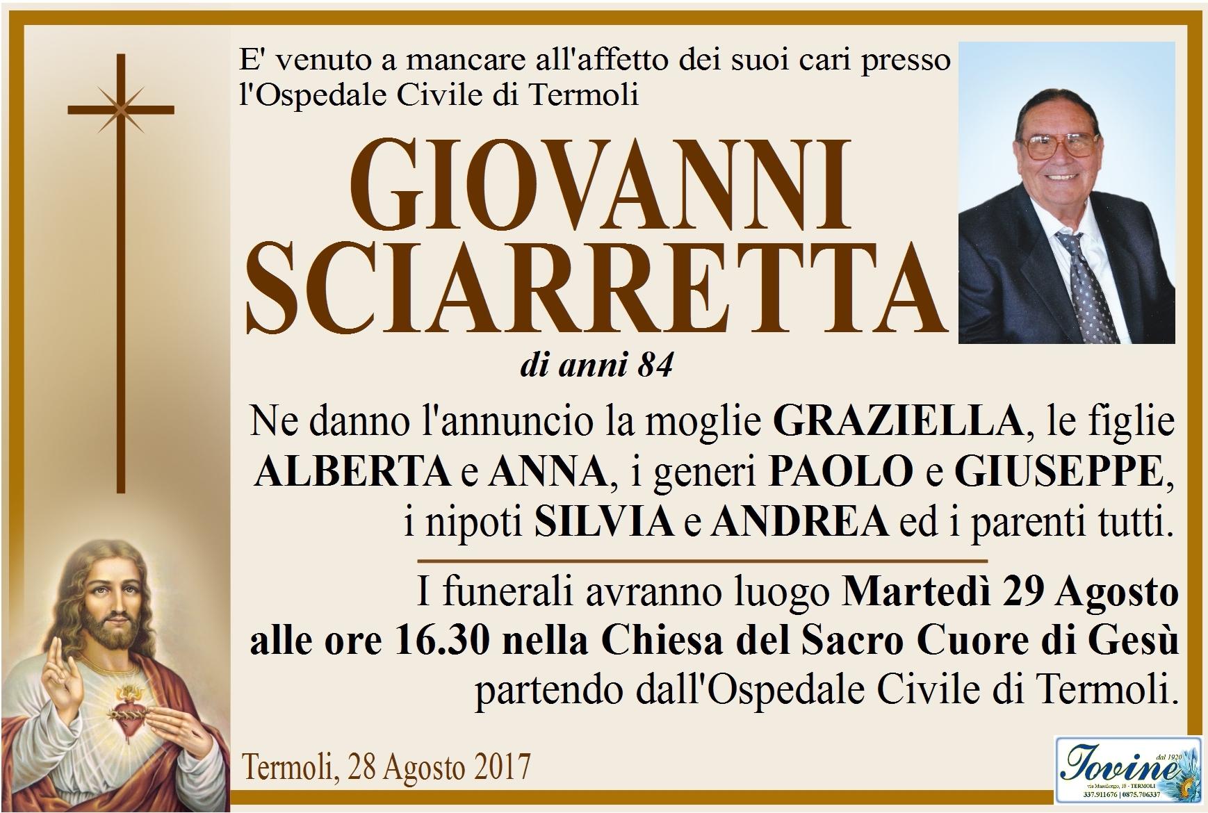Giovanni Sciarretta, 28/08/2017, Termoli – Onoranze Funebri Iovine