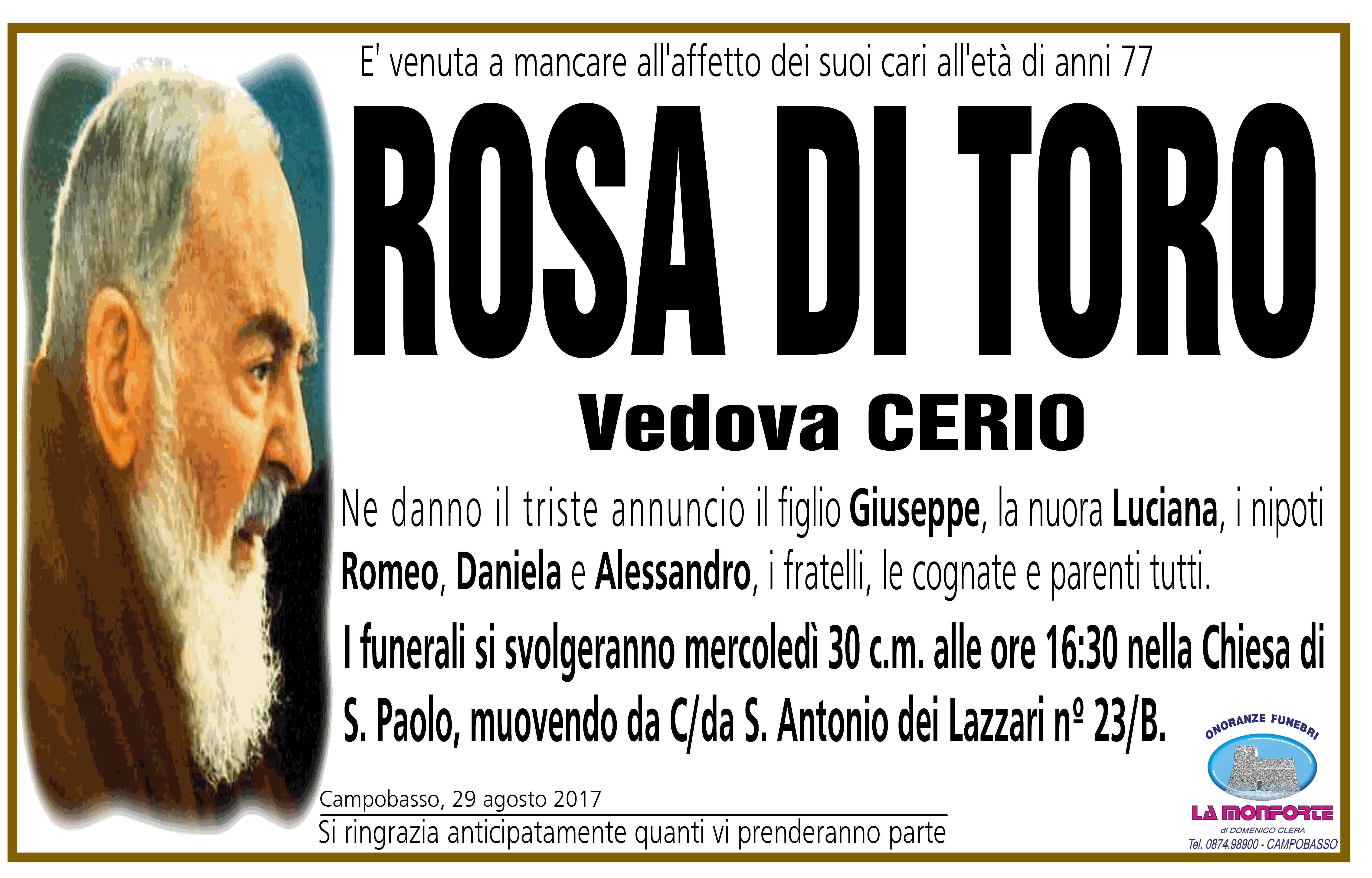Rosa Di Toro, 29/08/2017, Campobasso – Onoranze Funebri La Monforte