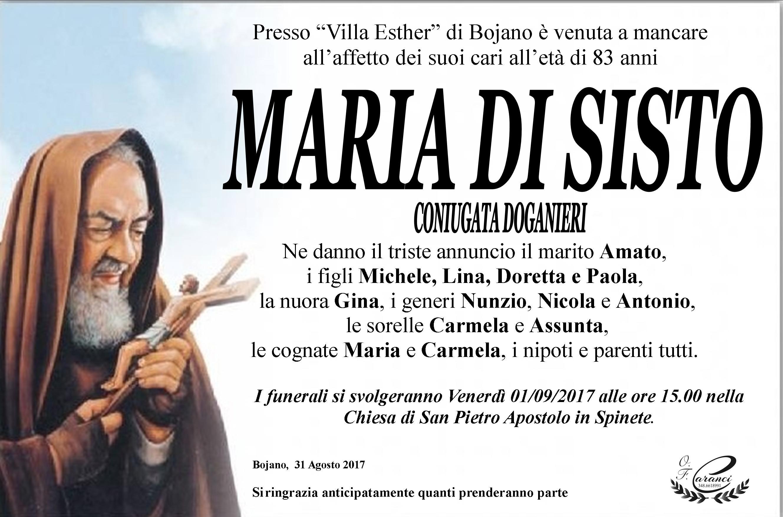 Maria Di Sisto – 31/08/2017 – Bojano – Onoranze Funebri Caranci