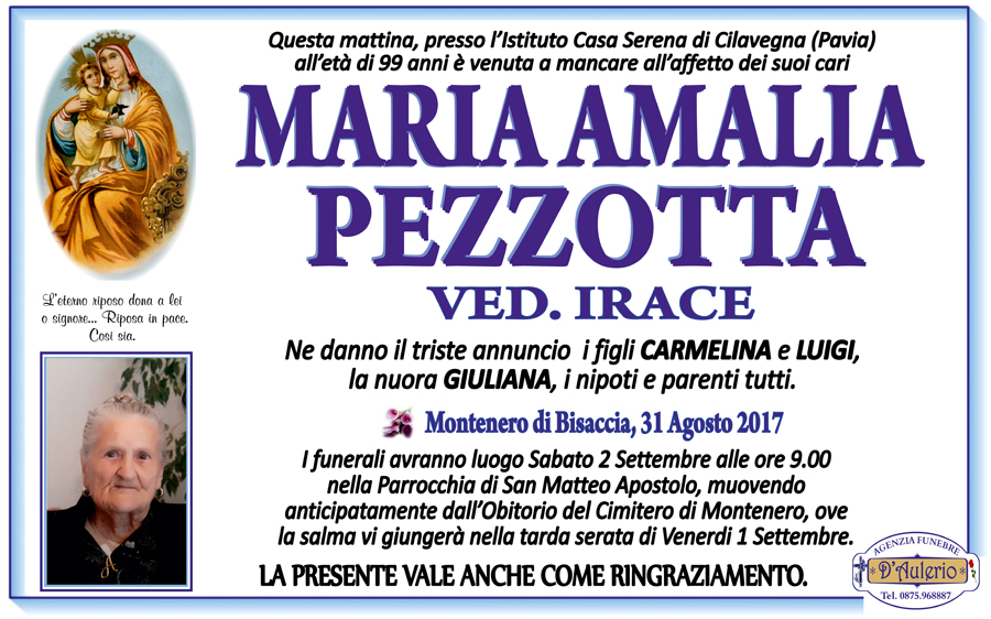 Maria Amalia Pezzotta – 31/08/2017 – Montenero di Bisaccia – Agenzia funebre D'Aulerio