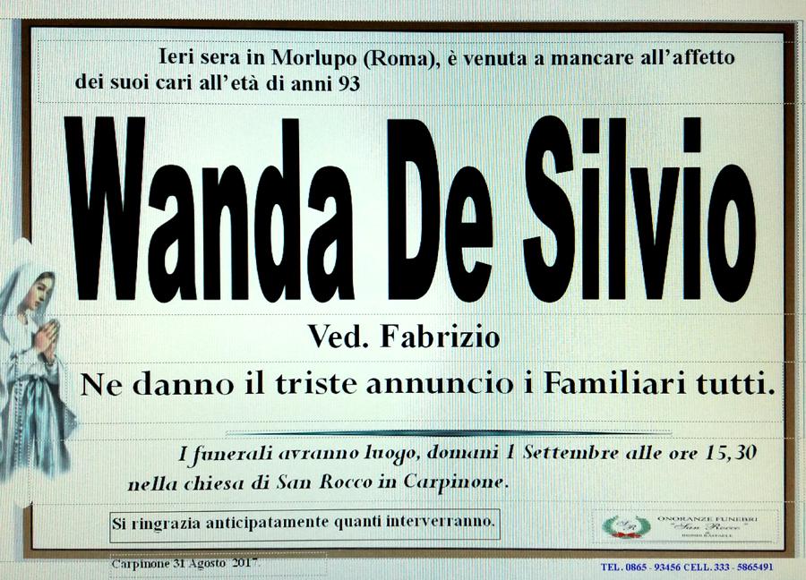 Wanda De Silvio – 31/08/2017 – Carpinone (IS) – Onoranze funebri San Rocco
