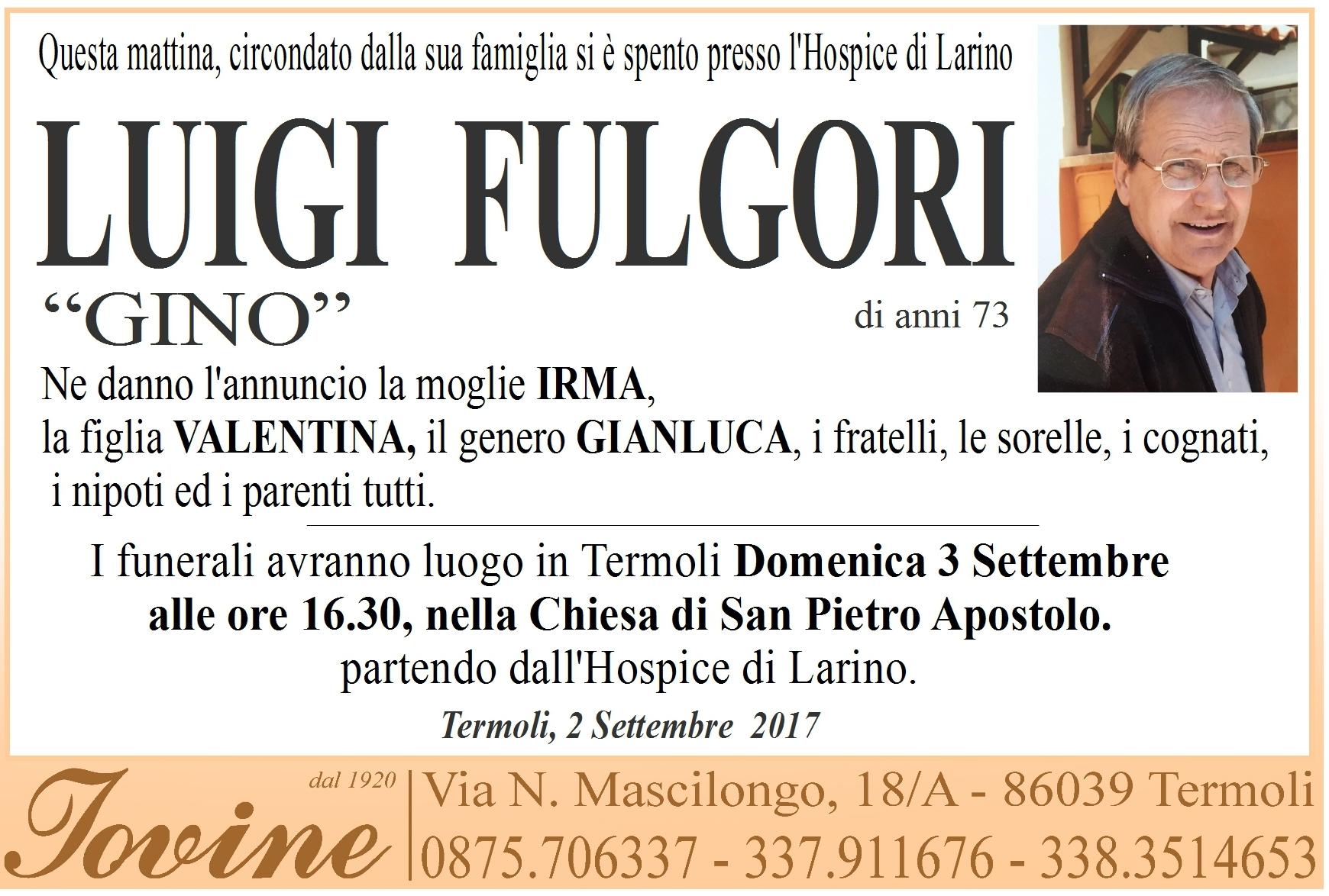 Luigi Fulgori, 02/09/2017, Termoli, Onoranze Funebri Iovine