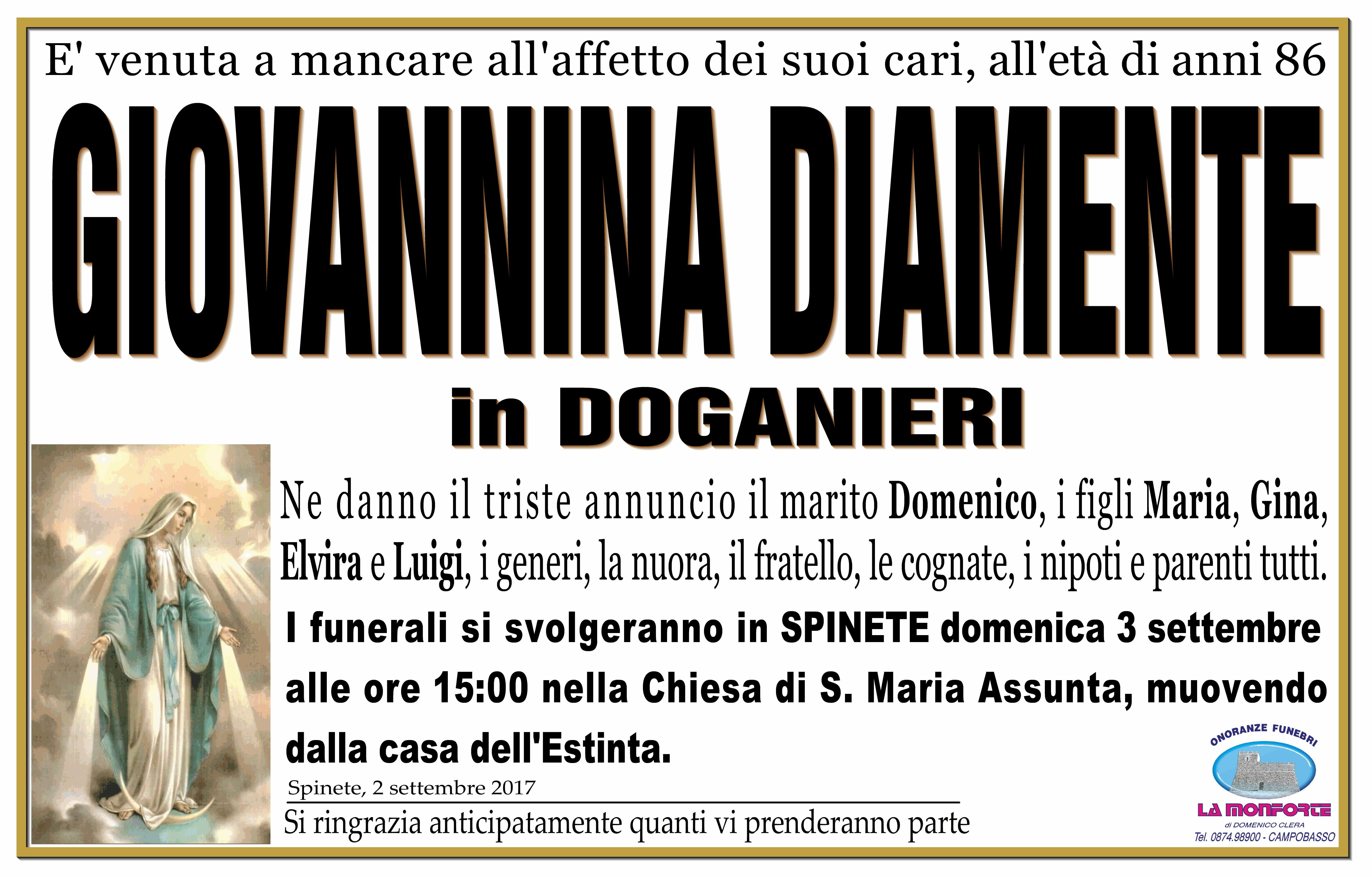 Giovannina Diamente, 02/09/2017, Spinete – Onoranze Funebri La Monforte