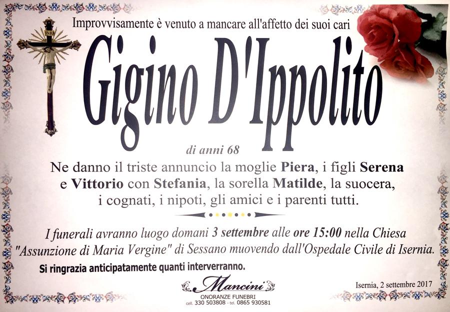 Gino D'Ippolito – 02/09/2017 – Sessano del Molise (Is) – Onoranze funebri Mancini