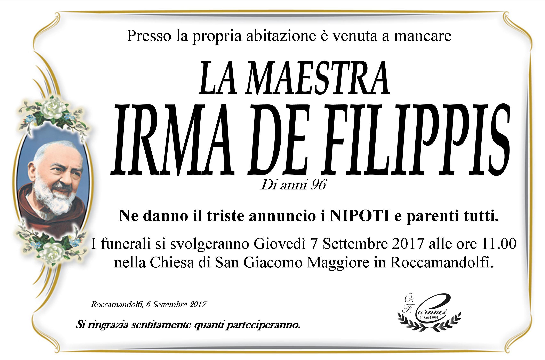 Irma De Filippis – 06/09/2017 – Roccamandolfi – Onoranze Funebri Caranci