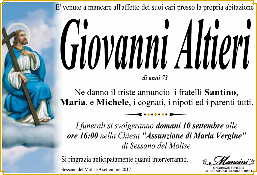 Giovanni Altieri – 09/09/2017 – Sessano del Molise (Is) – Onoranze funebri Mancini