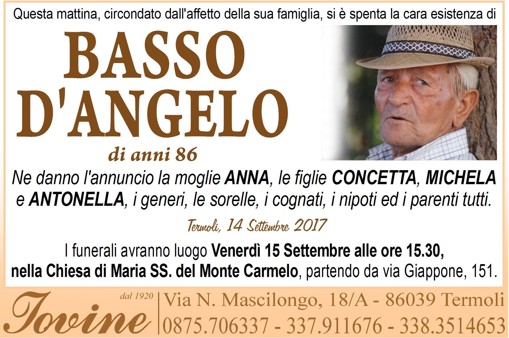 Basso D'Angelo – 14/09/2017 – Termoli – Onoranze Funebri Jovine