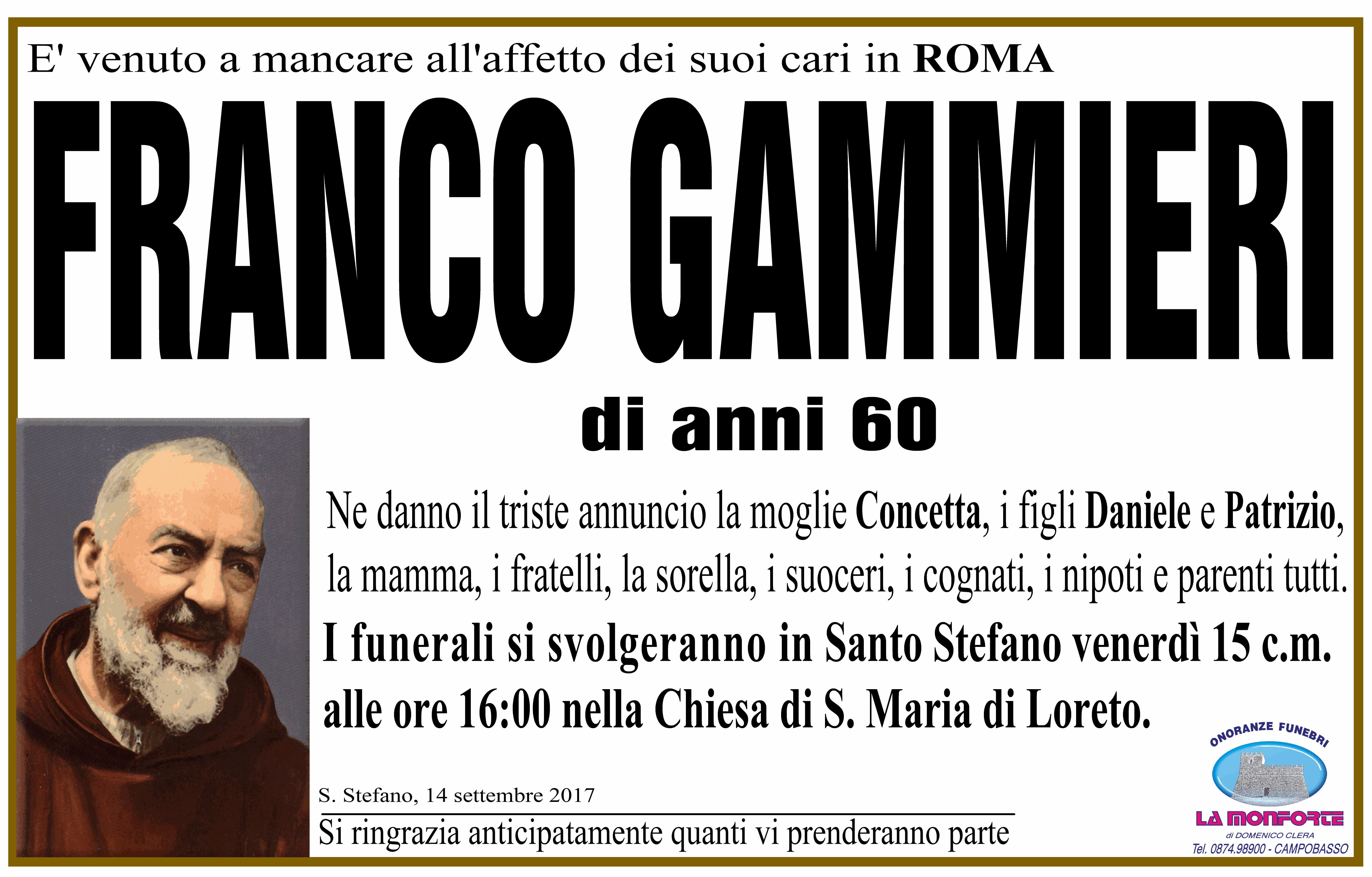 Franco Gammieri – 14/09/2017 – Santo Stefano (CB) – Onoranze Funebri La Monforte