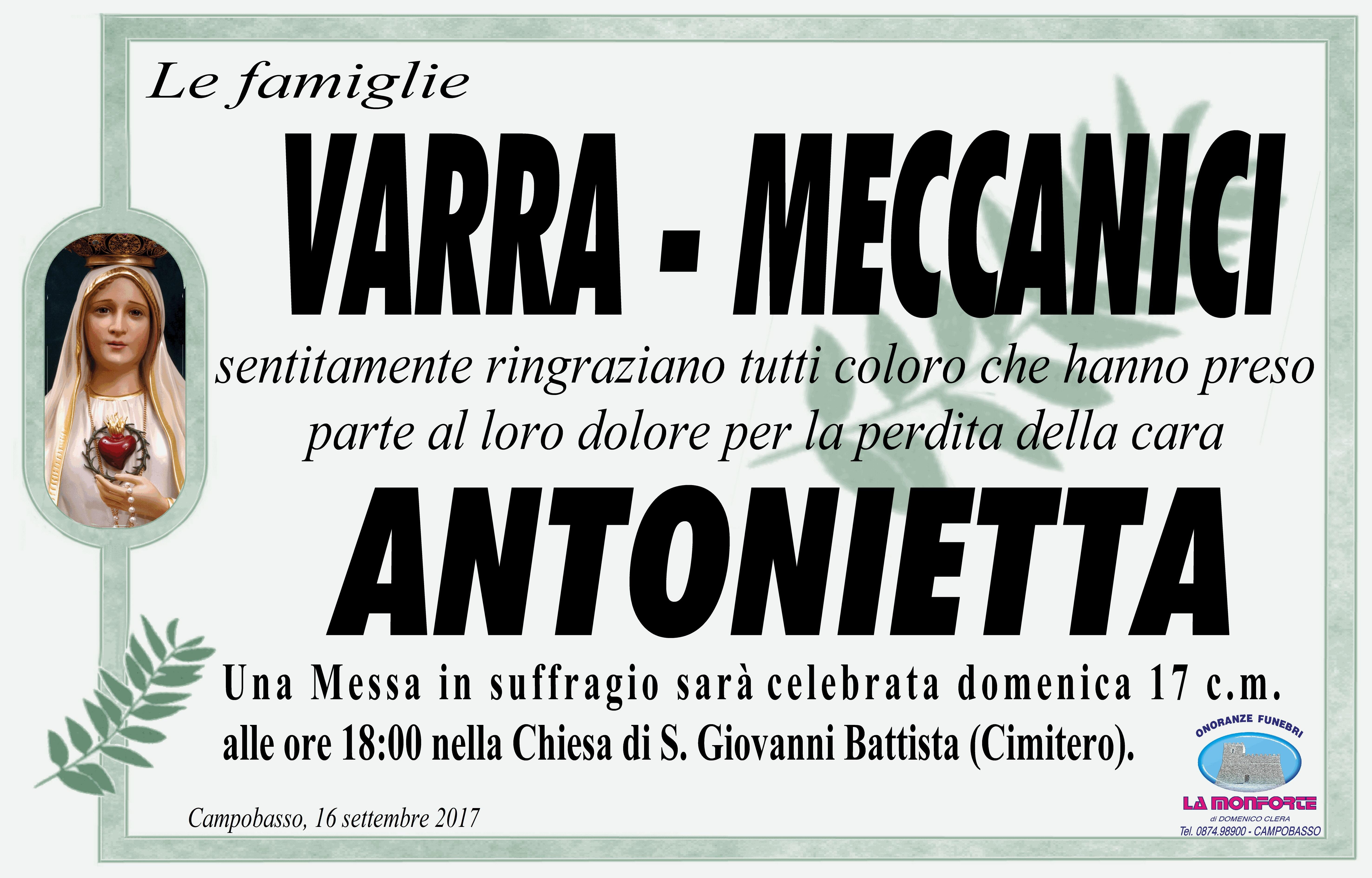 Ringraziamento Famiglie Varra e Meccanici – Campobasso