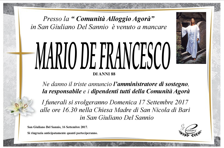 Mario De Francesco, 16/09/2017, San Giuliano del Sannio (CB) – Onoranze Funebri Caranci