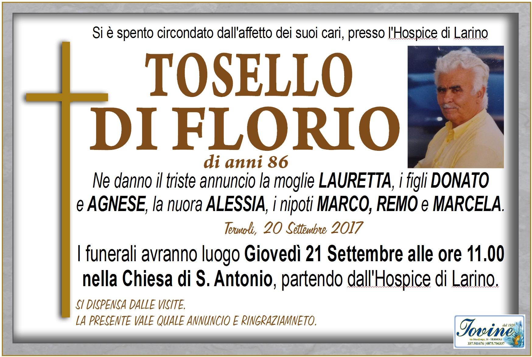 Tosello Di Florio – 20/09/2017 – Termoli – Onoranze Funebri Jovine