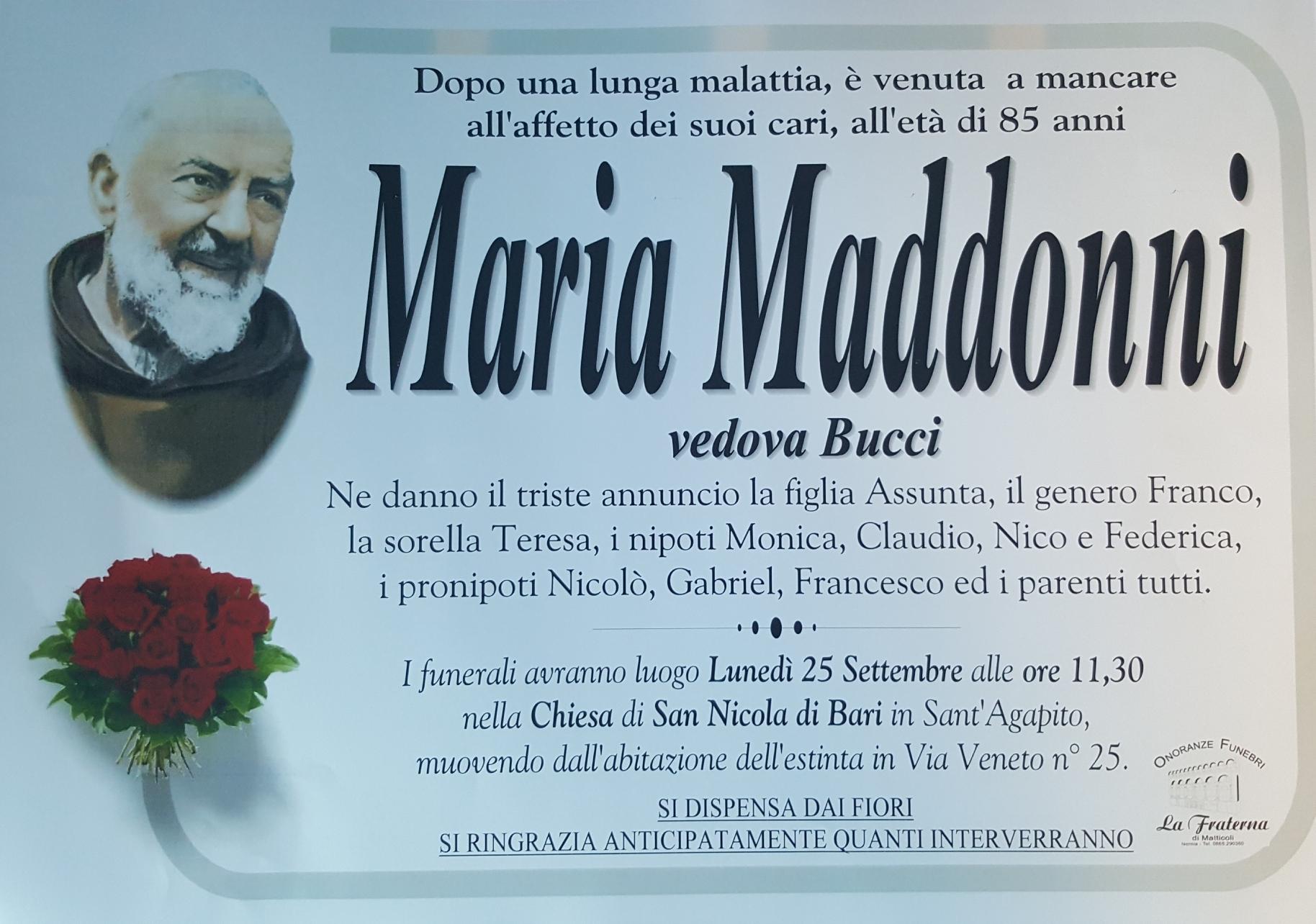 Maria Maddonni, 24/09/2017, Sant'Agapito (IS) – Onoranze Funebri La Fraterna