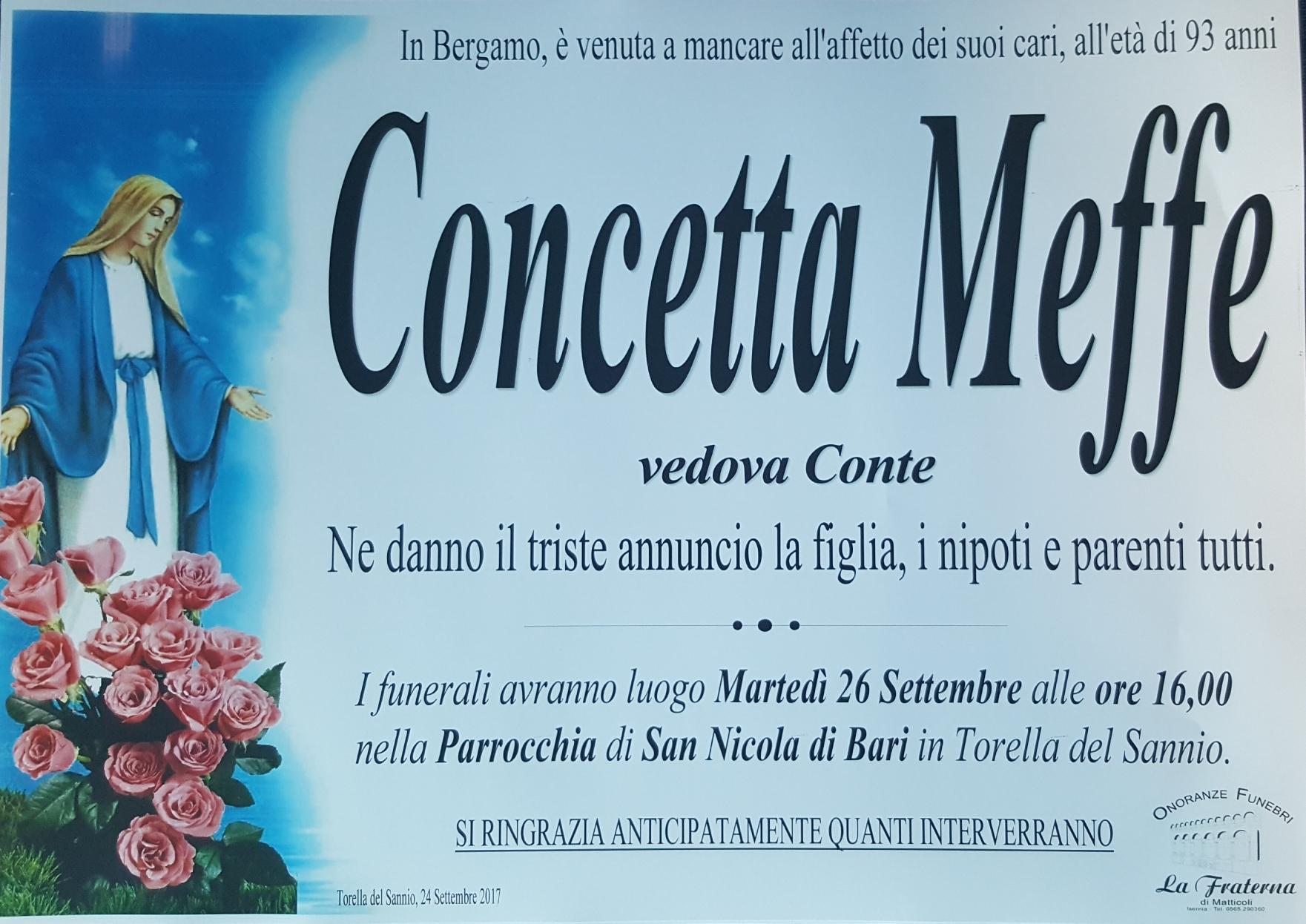 Concetta Meffe, 24/09/2017, Torella del Sannio (CB) – Onoranze Funebri La Fraterna