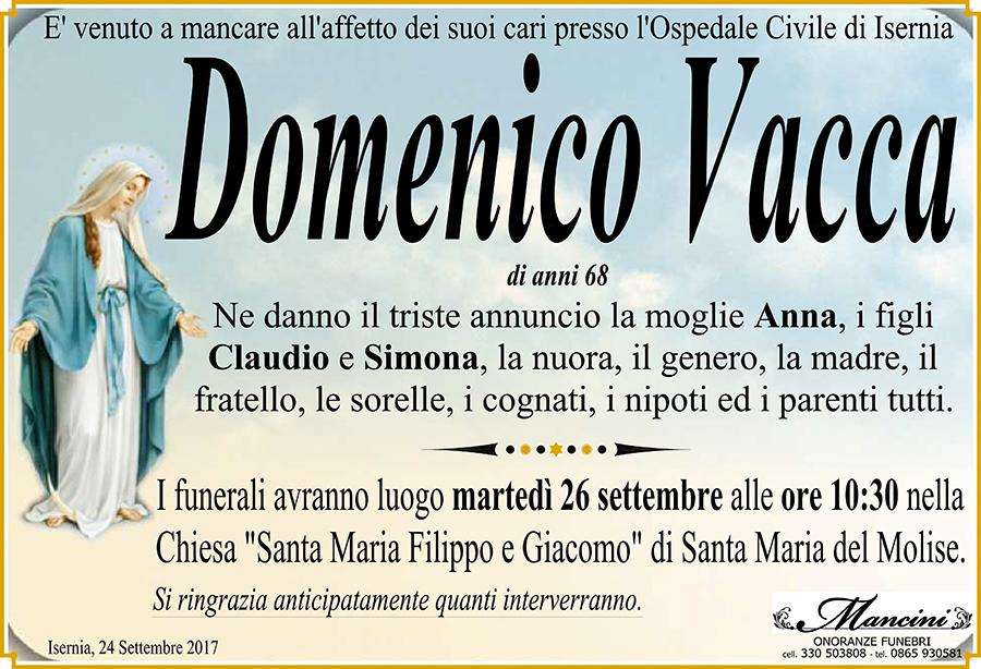 Domenico Vacca – 24/09/2017 – Santa Maria del Molise (IS) – Onoranze funebri Mancini