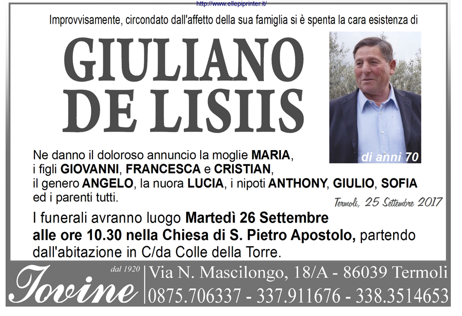 Giuliano De Lisiis – 25/09/2017 – Termoli – Onoranze funebri Iovine