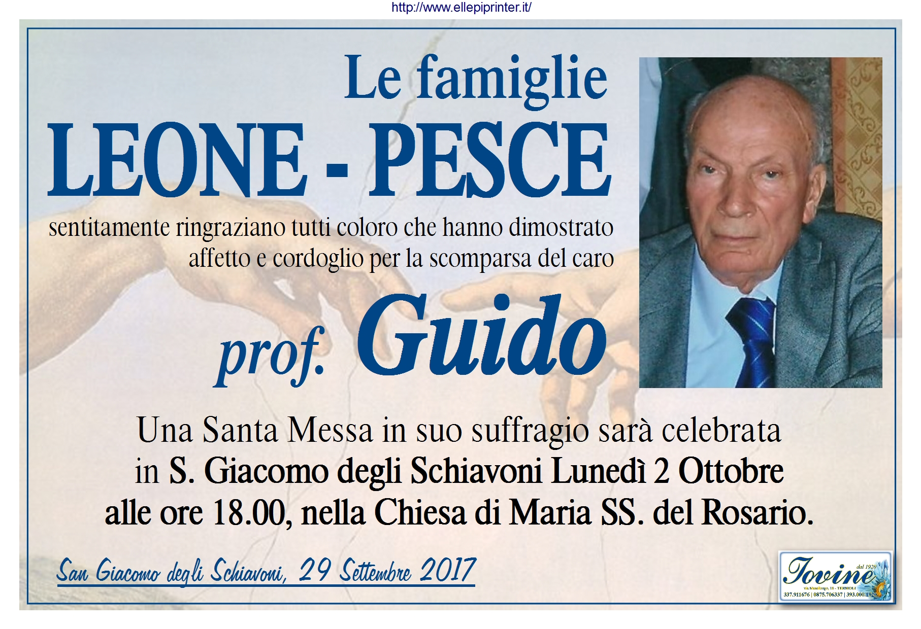 Ringraziamento Famiglie Leone, Pesce – San Giacomo degli Schiavoni