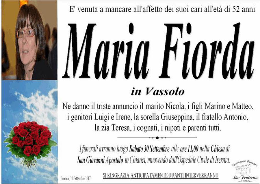 Maria Fiorda – 29/09/2017 – Isernia – Onoranze funebri La Fraterna