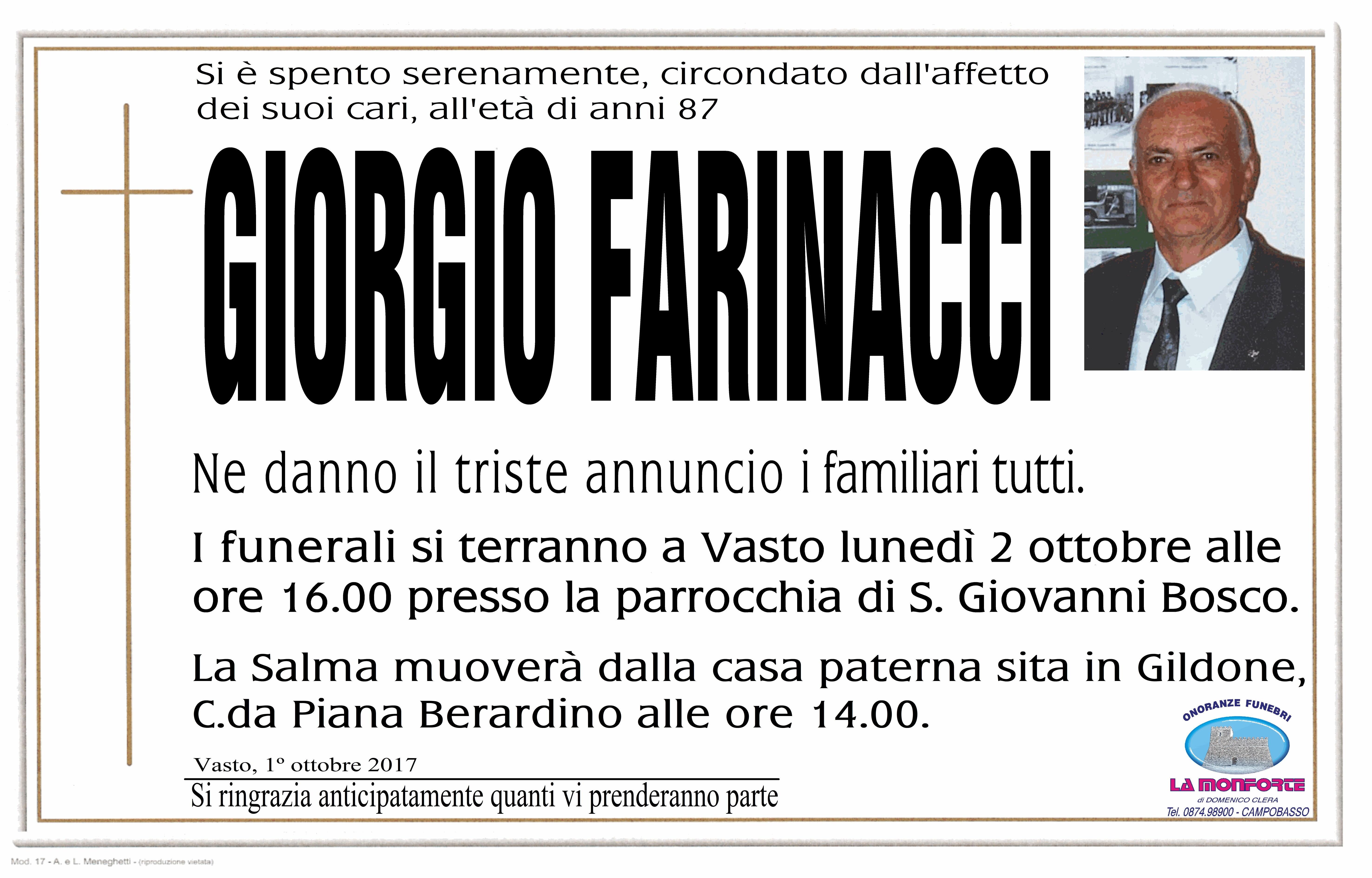 Giorgio Farinacci, 1/10/2017, Vasto – Onoranze Funebri La Monforte