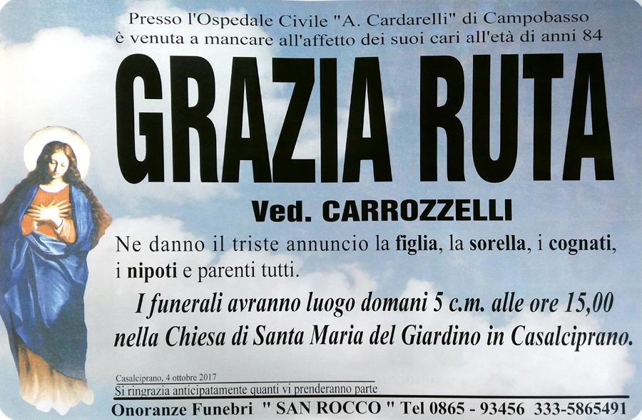Grazia Ruta – 04/10/2017 – Casalciprano (CB) – Onoranze funebri San Rocco