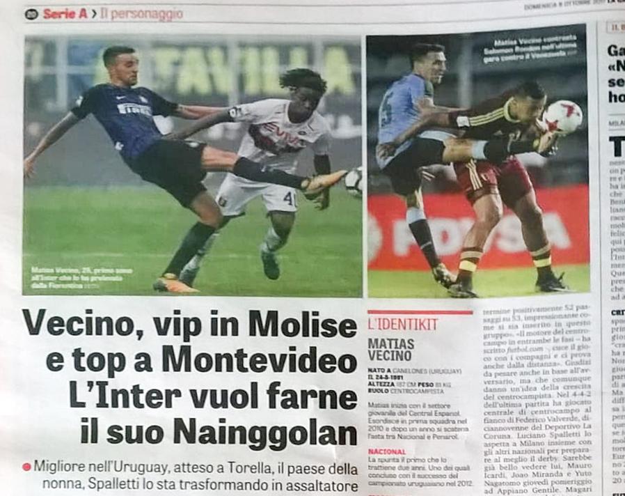 Il Molise su La Gazzetta dello Sport 'grazie' a Vecino