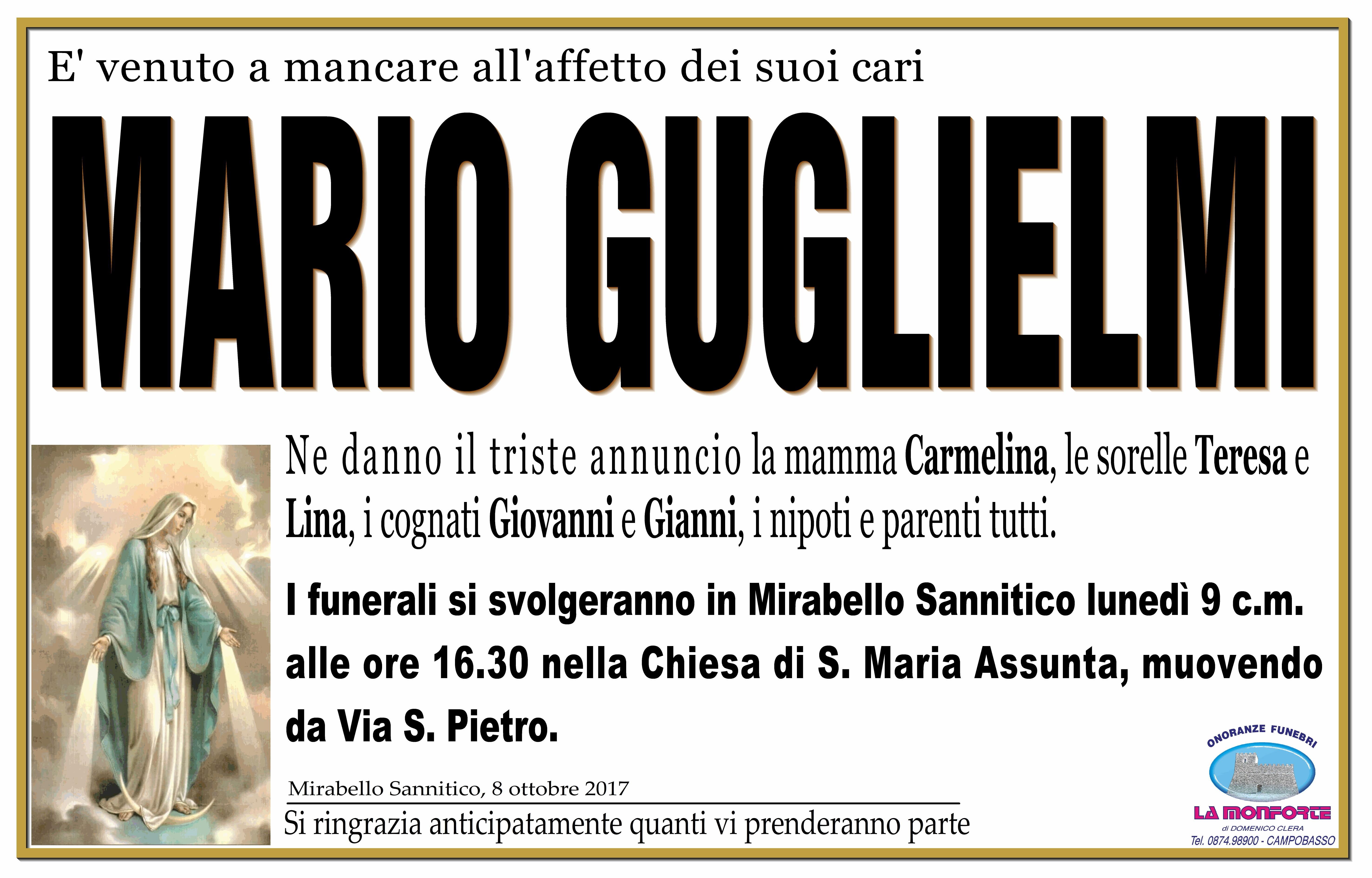 Mario Guglielmi, 8/10/2017, Mirabello Sannitico (CB) – Onoranze Funebri La Monforte