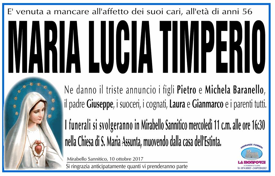 Maria Lucia Timperio – 10/10/2017 – Mirabello Sannitico (CB) – Onoranze funebri La Monforte