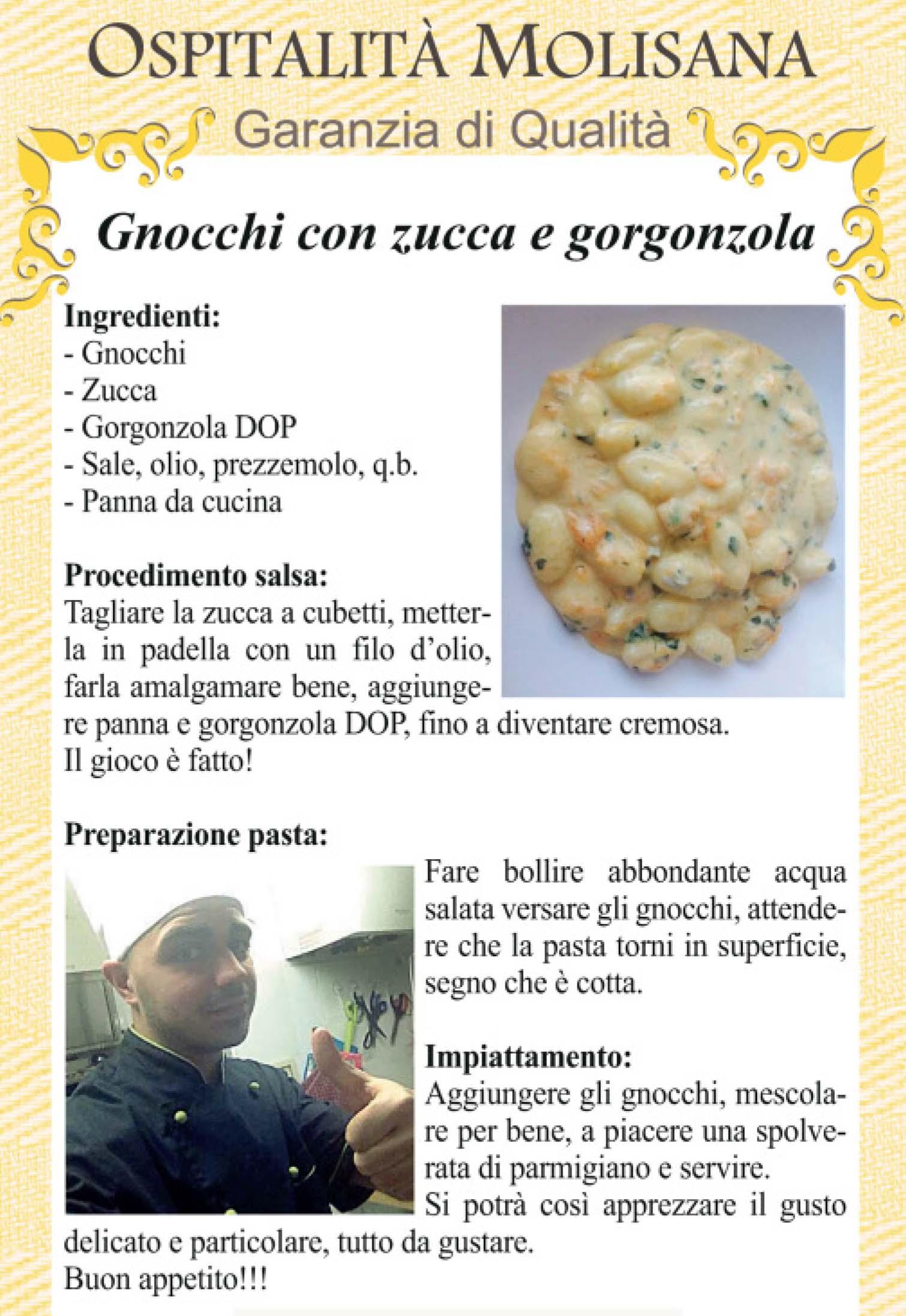OSPITALITA' MOLISANA – Gnocchi con zucca e gorgonzola