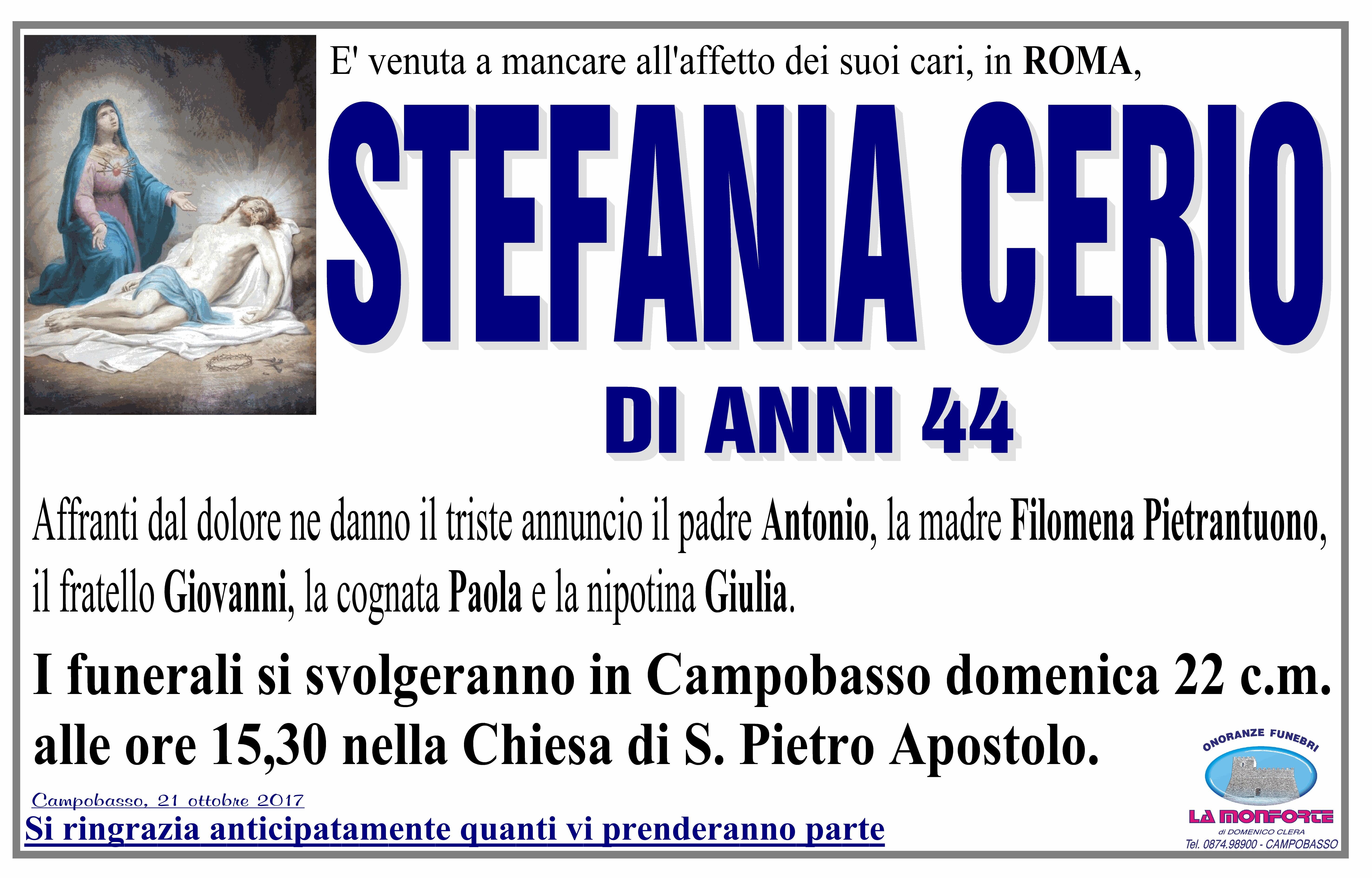 Stefania Cerio, 21/10/2017, Campobasso – Onoranze Funebri La Monforte