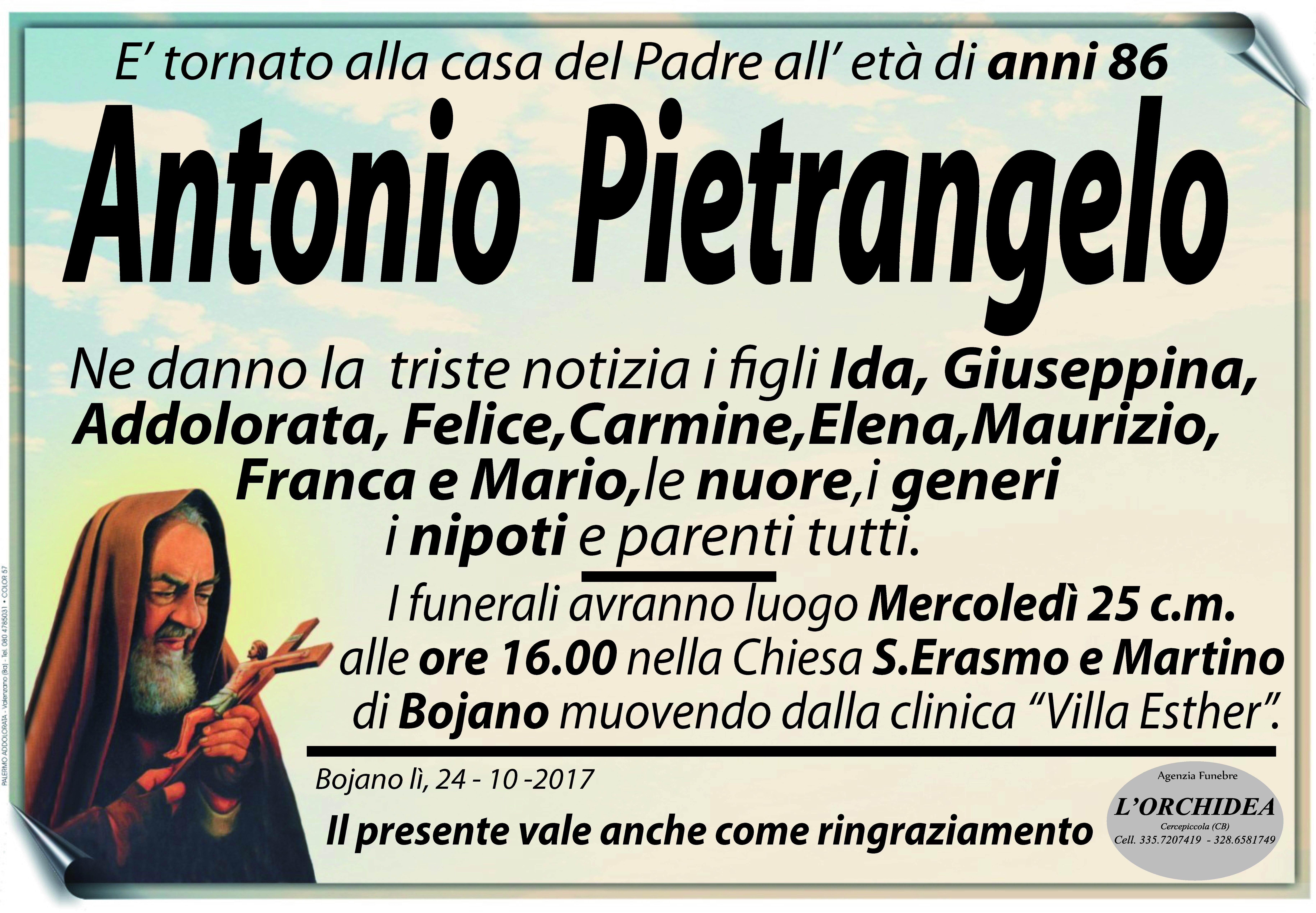 Antonio Pietrangelo, 24/10/2017, Bojano (CB) – Agenzia Funebre L'Orchidea