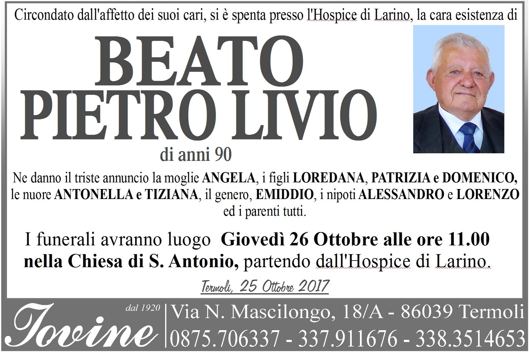 Beato Pietro Livio – 25/10/2017 – Termoli – Onoranze Funebri Jovine