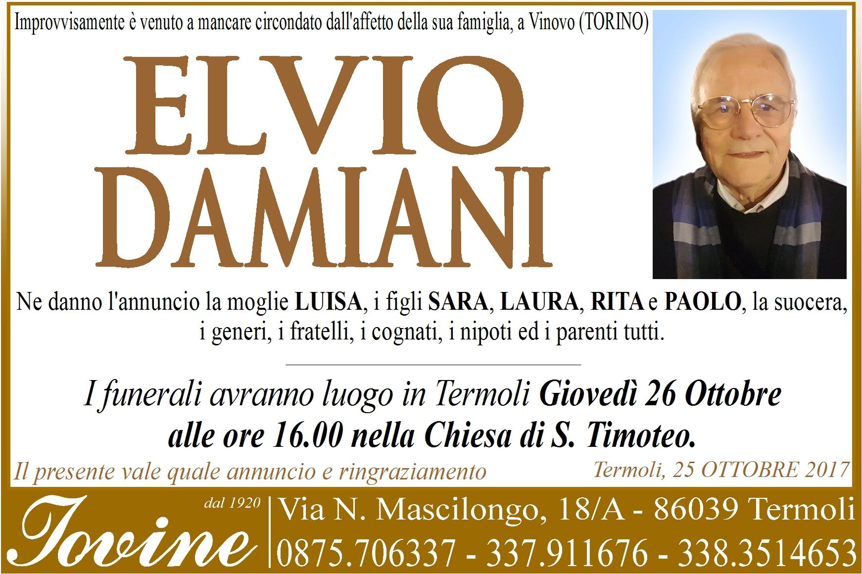 Elvio Damiani – 25/10/2017 – Termoli – Onoranze Funebri Jovine