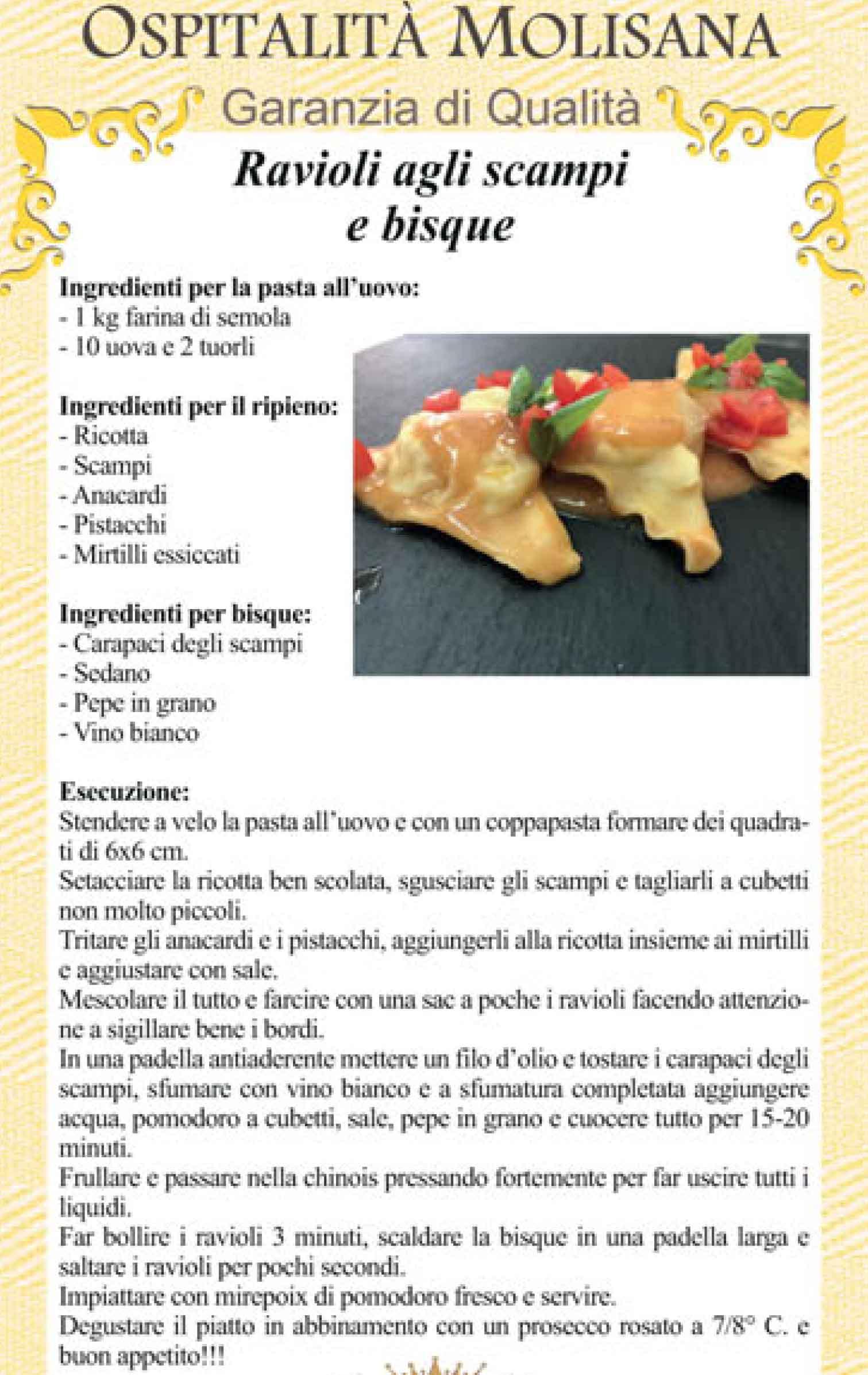 OSPITALITA' MOLISANA – Ravioli agli scampi e bisque