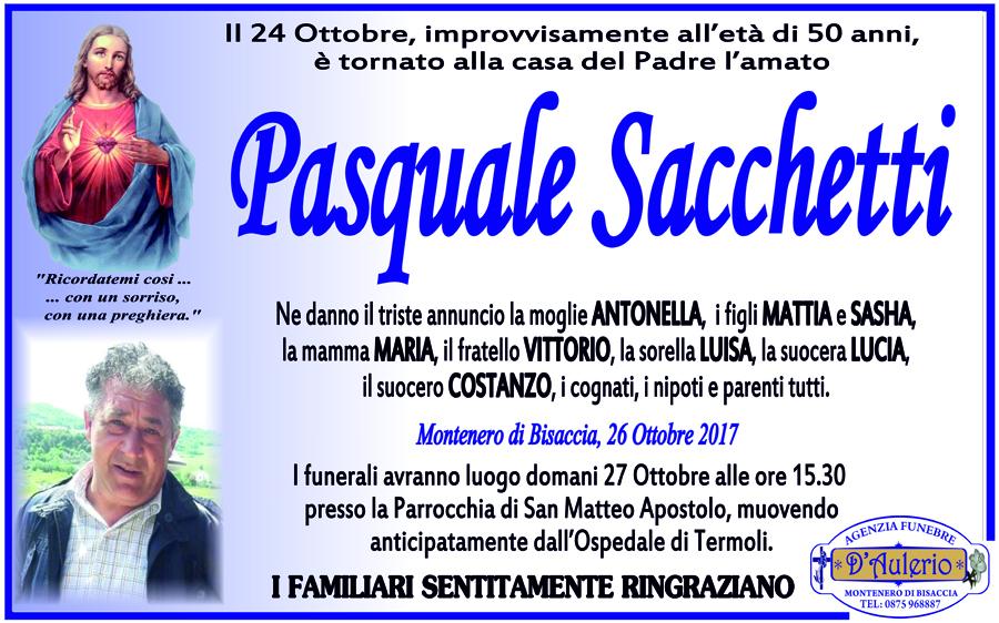Pasquale Sacchetti – 26/10/2017 – Montenero di Bisaccia (CB) – Agenzia funebre D'Aulerio
