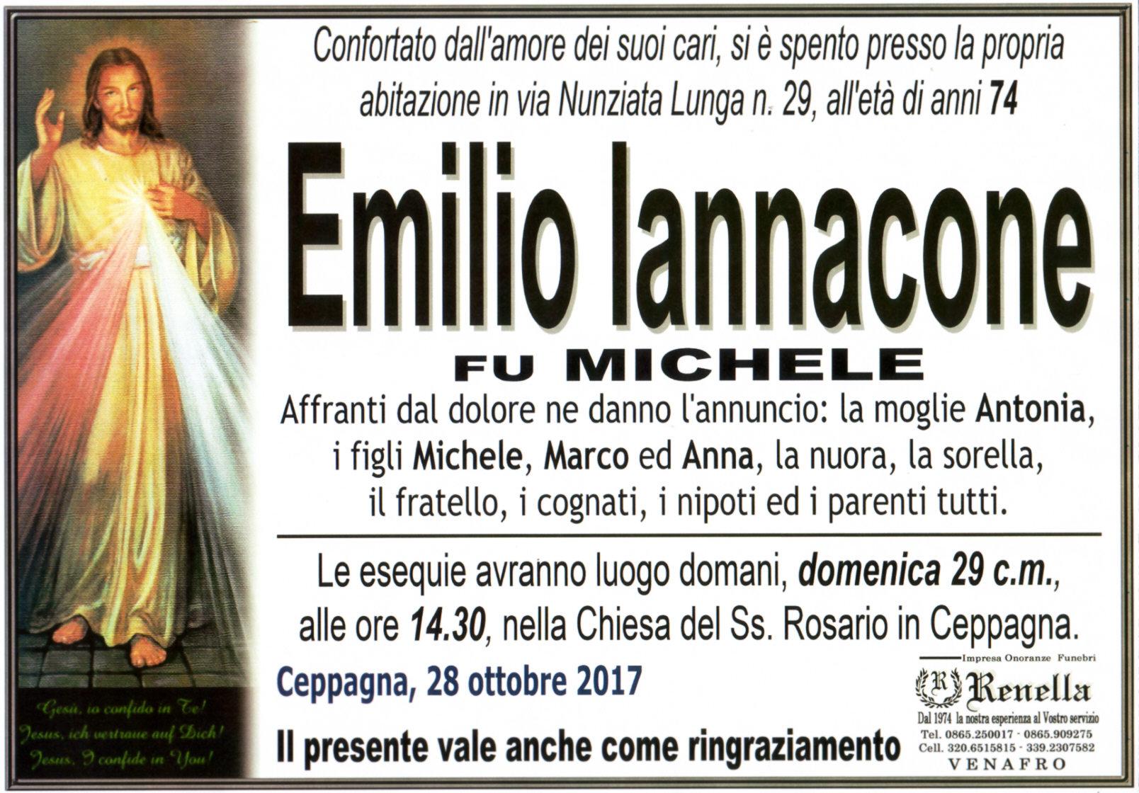 Emilio Iannacone – 28/10/2017 – Ceppagna – Onoranze Funebri Renella