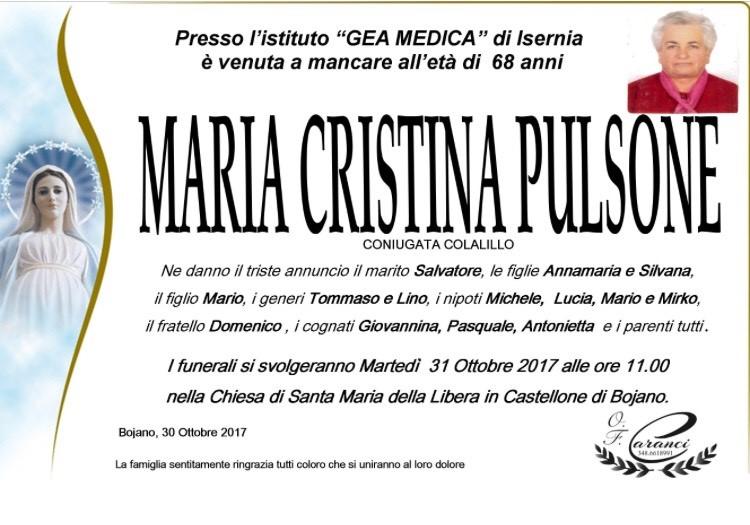 Maria Cristina Pulsone – 30/10/2017 – Bojano – Onoranze Funebri Caranci