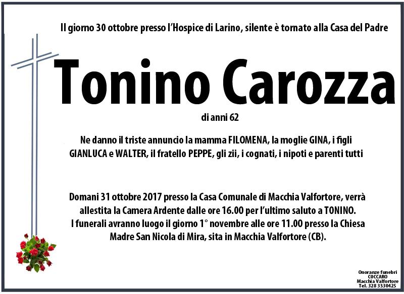 Tonino Carozza – 30/10/2017 – Macchia Valfortore (CB) – Onoranze funebri Coccaro