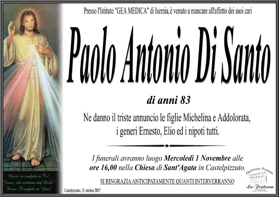 Paolo Antonio Di Santo – 31/10/2017 – Castelpizzuto (IS) – Onoranze funebri La Fraterna