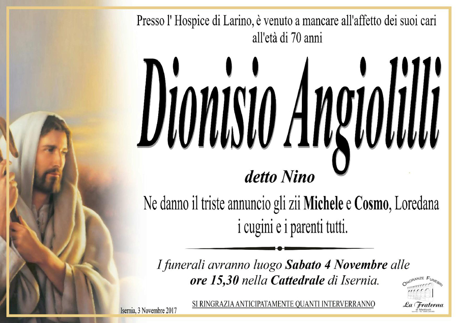 Dionisio Angiolilli – 03/11/2017 – Isernia – Onoranze Funebri La Fraterna