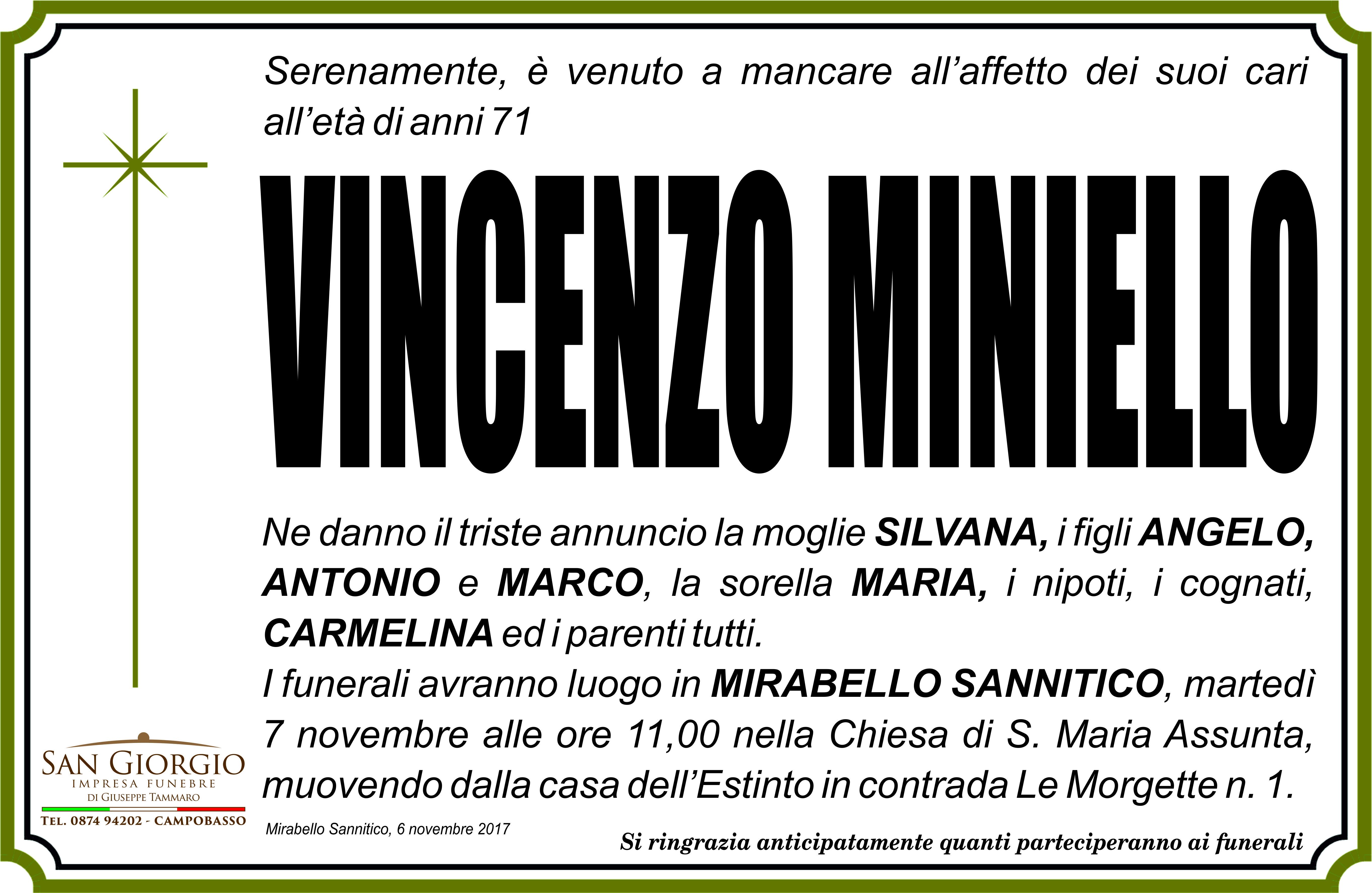 Vincenzo Miniello – 06/11/2017 – Mirabello Sannitico (CB) – Impresa Funebre San Giorgio
