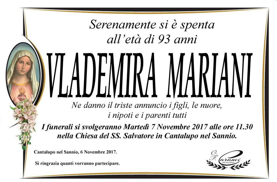 Vlademira Mariani – 06/11/2017 – Cantalupo nel Sannio (IS) – Onoranze funebri Caranci