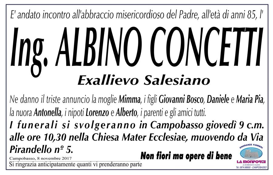 Albino Concetti – 08/11/2017 – Campobasso – onoranze funebri La Monforte
